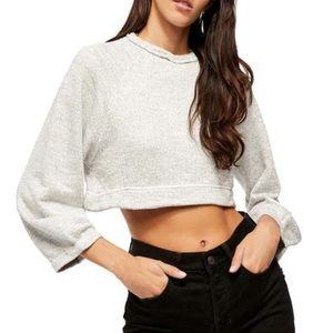 FREE PEOPLE Jade Cropped Sweater Gray M